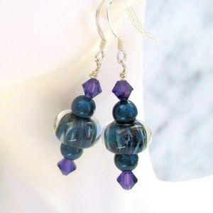 Sterling Silver Purple Lampwork Earrings